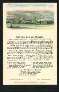 Lied-AK Anton Günther Nr. 24: Lied in erzgeb. Mundart Grüss dich Gott, mei Arzgebirg!