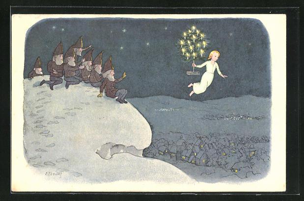 Künstler-AK Ernst Kreidolf: Weihnacht, Zwerge winken dem Weihnachtsengel mit Tannenbaum