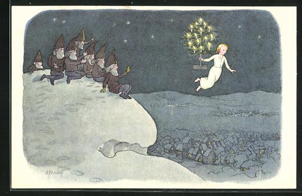 Künstler-AK Ernst Kreidolf: Weihnacht, Zwerge im Schnee winken dem Weihnachtsengel zu