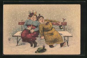 Künstler-AK Willi Scheuermann: Zwei betrunkende Frauen sitzen auf der verschneiten Bank