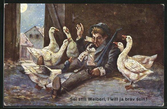 Künstler-AK Ernst Schlemo: Sei still Weiberl, i will ja brav sein!. Betrunken schläft im Gänsestall