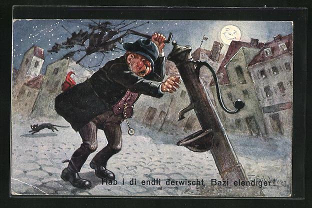 Künstler-AK Ernst Schlemo: Hab i di endli derwischt, Bazi elendiger, Betrunkener Mann verkloppt die Wasserpumpe