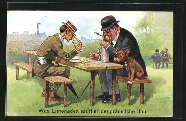 Künstler-AK Ernst Schlemo: Was, Limonaden sauft er, der gräusliche Uhu
