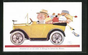 Künstler-AK Mabel Lucie Attwell: Glücklich ist wer nie verlor im Kampf des Lebens den Humor, Vater und Kinder im Auto