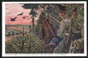Künstler-AK Hans Baluschek: Morgenrot, Morgenrot, Soldat beobachtet den Sonnenaufgang