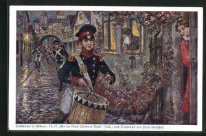 Künstler-AK Hans Baluschek: Bin der kleine Tambour Beith, Junger Soldat spielt die Trommel