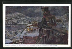 Künstler-AK Hans Baluschek: Steh` ich in finstrer Mitternacht, Soldat schaut über den winterlichen Ort