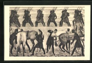 Künstler-AK Ferdinand Hodler: Aufbruch der Jenenser Studenten 1813
