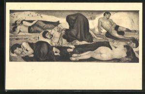 Künstler-AK Ferdinand Hodler: Die Nacht, schlafende Menschen