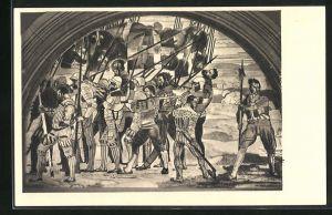Künstler-AK Ferdinand Hodler: Rückzug von Marignano, Mittelbild