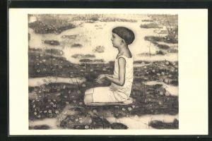 Künstler-AK Ferdinand Hodler: Knabe kniend, Studie zum Auserwählten