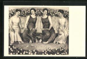 Künstler-AK Ferdinand Hodler: Heilige Stunde, Frauen auf der Wiese