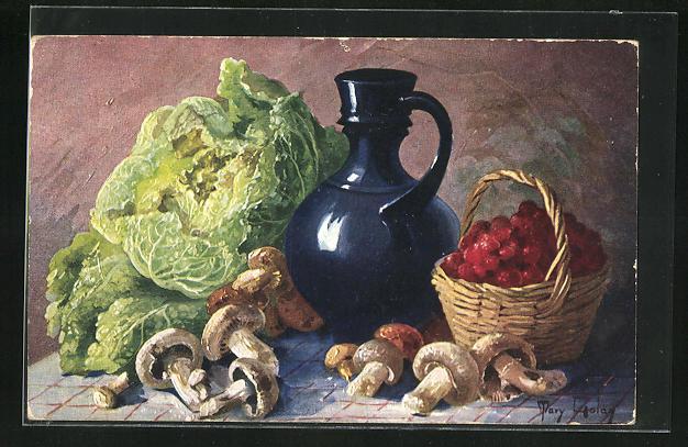 Künstler-AK Mary Golay: Stillleben, Pilze, Brombeeren und Salat