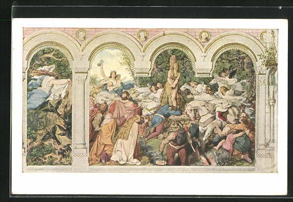 Künstler-AK Moritz von Schwind: Die sieben Raben, Die fertiggestellten Gewänder werden v. der Fee an die Brüder verteilt