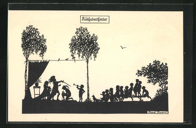 Künstler-AK Elsbeth Forck: Schattenbild Liebhabertheater