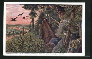 Künstler-AK Hans Baluschek: Volkslieder in Bildern, 16: Morgenrot, Morgenrot, Soldat in Uniform auf seinem Pferd