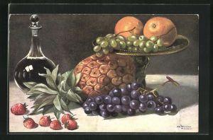 Künstler-AK Alfred Schönian: Stillleben mit Weintrauben, Orangen, Erdbeeren und Ananas