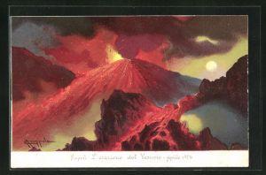 AK Napoli, L` eruzione del Vesuvio-Aprile 1906, Vulkan