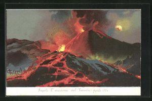 AK Napoli, L` eruzione del Vesuvio - Aprile 1906, Vulkan