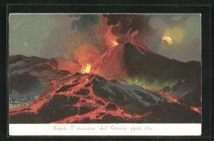 Künstler-AK Napoli, L` eruzione del Vesuvio-Aprile 1906