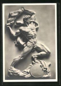 Künstler-AK Arno Breker: Relief-Figur Vergeltung, Krieger schleudert einen Stein