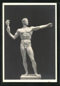 Künstler-AK Arno Breker: Monumentalfigur, Männerakt mit Fackel