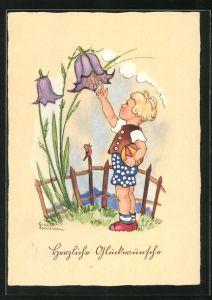 Künstler-AK Liesel Lauterborn: Gratulant läutet eine Glockenblume
