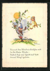 Künstler-AK Liesel Lauterborn: Zwerg bringt kleiner Elfe ein Ständchen auf der Geige