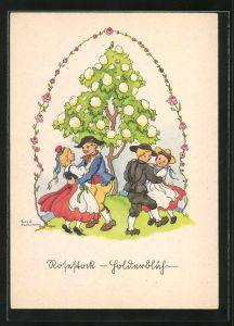 Künstler-AK Liesel Lauterborn: Rosestock golderblüh, Tanz unterm Rosenstock