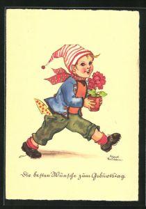 Künstler-AK Liesel Lauterborn: Geburtstagsgratulant mit Zipfelmütze und Blumentopf