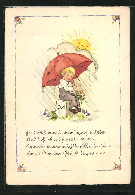 Künstler-AK Liesel Lauterborn: Knabe unterm Regenschirm