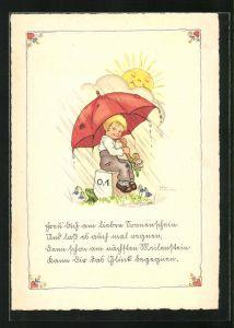 Künstler-AK Liesel Lauterborn: Knabe unterm Regenschirm sitzt auf einem Kilometerstein
