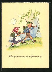 Künstler-AK Liesel Lauterborn: Fröhliche Geburtstagsgratulanten halten sich an den Händen