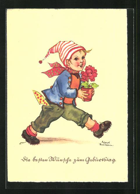 Künstler-AK Liesel Lauterborn: Fröhlicher Gratulant mit Blumentopf