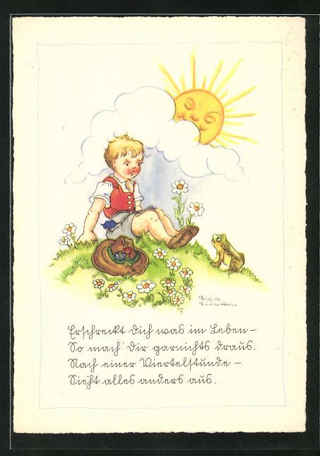 Künstler-AK Liesel Lauterborn: Knabe und Frosch im Sonnenschein