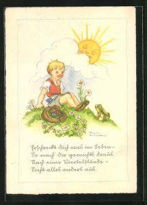 Künstler-AK Liesel Lauterborn: Knabe und Frosch im Sonnenschein auf einer Blumenwiese