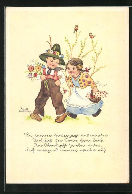 Künstler-AK Liesel Lauterborn: Kleines Paar mit Blumenstrauss und Geschenkkorb