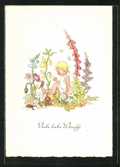 Künstler-AK Liesel Lauterborn: Blonder Knabe auf einer Blumenwiese