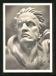 Künstler-AK Arno Breker: Skulptur Der Wächter, Detailansicht vom Kopf