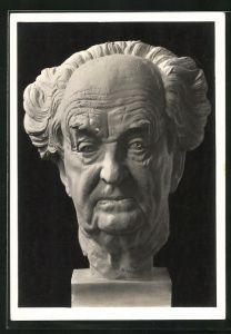 Künstler-AK Arno Breker: Kopfskulptur des Schriftstellers Gerhart Hauptmann in hohem Alter