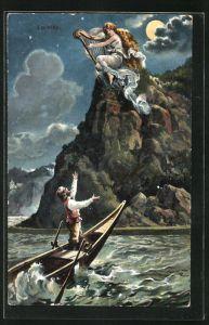 AK Loreley mit einer Harfe auf einem Felsen sitzend