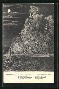 AK Loreley bei Mondschein mit einer Laute auf einem Felsen sitzend, Die schönste Jungfrau sitzet...