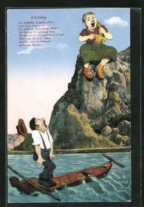 AK Loreley sich die Haare kämmend auf einem Felsen sitzend, Die schönste Jungfrau sitzet...