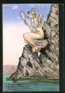 AK Loreley mit Kamm u. Handspiegel auf einem Felsen sitzend