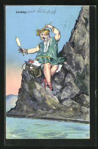 AK Loreley mit Kamm und Handspiegel auf einem Felsen sitzend, Die schönste Jungfrau sitzet