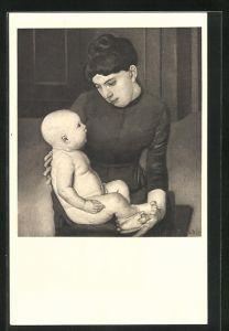 Künstler-AK Ferdinand Hodler: Mutter und Kind, 1888