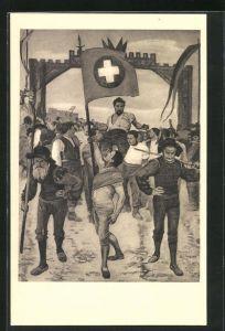 Künstler-AK Ferdinand Hodler: Der Schwingerumzug, 1887