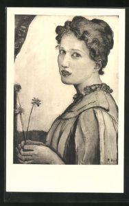 Künstler-AK Ferdinand Hodler: Mädchenbildnis, 1903