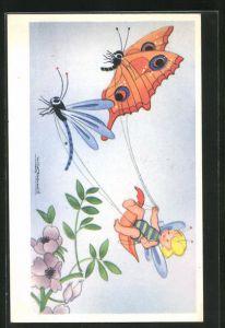 Künstler-AK Willy Schermele: Kleiner Elf auf einem Schmetterlingsgespann