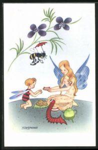 Künstler-AK Willy Schermele: Kleiner Elf mit Elfenkind und Biene beim Tee